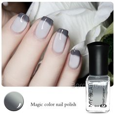 1 Pc 6ml Thermal Nail Polish Peel Off Color Changing Varnish Gray to White