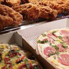 Fried chicken, Pizza & Grill Burgers.  HiMeh Food Presents Now.  www.HiMehFood.com. Chicken Pizza, Fried Chicken, Burgers, Fries, Grilling, Presents, Eat, Food, Hamburgers