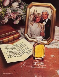 """One of it's first tie-ins was introduced in """"Forever Krystle"""" was a perfume named after the Krystle Carrington character, played by Linda Evans. Perfume Names, Dynasty Tv Show, John Forsythe, Perfume Adverts, Der Denver Clan, Linda Evans, Those Were The Days, Sweet Memories, Vintage Ads"""