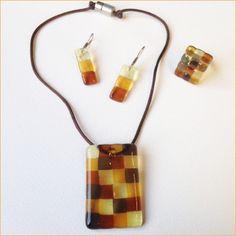 Glass jewelry • 3-piece brown set