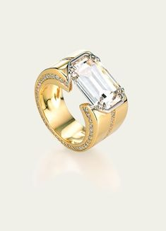 Rings @ Tamsen Z Diamond Ring Emerald Cut Diamond Diamond Pavé Platinum 18k Gold