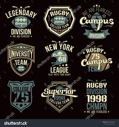 College rugby team emblems graphic design for t-shirt