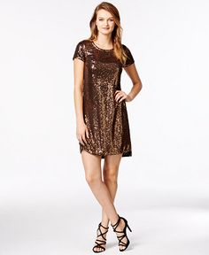 kensie Short-Sleeve Sequin Shift Dress - Dresses - Women - Macy's