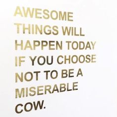 Don't be a miserable cow.
