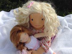 """LAURA 20 """" (50 cms) poupée waldorff, poupée d'art OOAK, et sa petite poupée"""