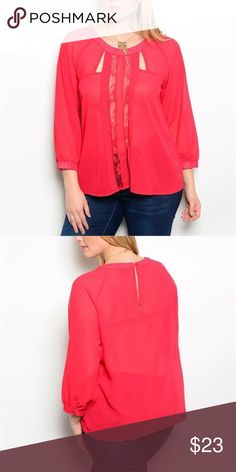 Red/Lace Detail Plus Size Top This sassy sheer woven long sleeve top features a buttoned blouson cuffs. Sheer vertical panel lace inset. Keyhole cutout chest accent. Fabric Content: 100% POLYESTER  XL (Sizes 14-16)  2x (Sizes 18-20) 3x (Sizes 22-24) Tops Blouses