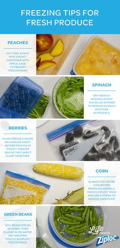 Great tips for freezing your fresh garden produce. Flash freeze raspberries, blackberries, and strawberries to keep them from sticking together, store fresh spinach without blanching, and more helpful tricks. Keep everything fresh in Ziploc® bags and c Freezer Cooking, Freezer Meals, No Cook Meals, Freezing Fruit, Freezing Vegetables, Frozen Vegetables, Food Facts, Canning Recipes, Baking Tips