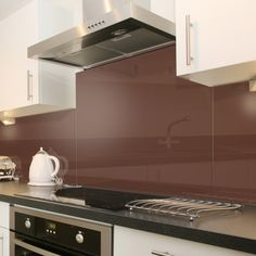 Sleek, cosy, warm, soft brown kitchen splashbacks