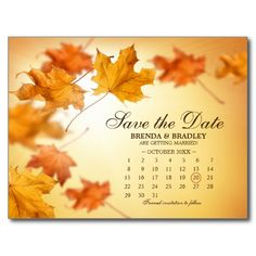 Fall Wedding Calendar Save The Date Cards Postcard
