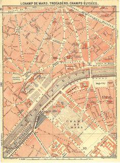 Paris City Plans Champ de Mars CarambasVintage
