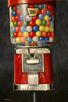 A Painting A Day: Miniature Masterpieces - Small original oil paintings by Darren Maurer: Gumball Machine - by Darren Maurer