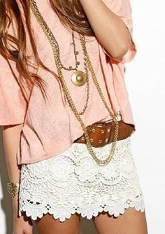 Lace <3 and a nude pink shirt