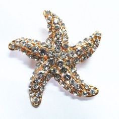 Pretty & Sparkly Clear Crystal Goldtone Starfish Pin Brooch (Sparkle-2115-U)