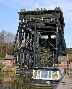 Anderton Boat Lift, Anderton, England. A Victorian masterpiece in hydraulic engineering, the lift provided a necessary connection of a river and a canal system, uniting the two routes for increased trade of salt, coal, and pottery further south.