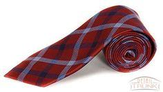 Countess Mara Men's 100% Silk Neck Tie, Bellagio Plaid, Red