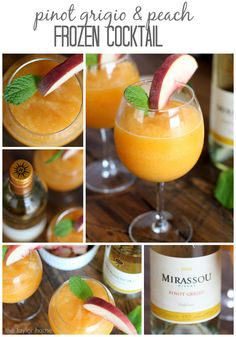 Delicious and refreshing Pinot Grigio Peach Frozen Cocktail!