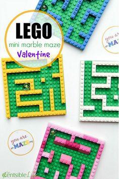 LEGO Mini Marble Maze Valentine's Day Gift for Kids - Dekor Ideen - Annette - Valentine's day Friends Valentines Day, Valentine Day Gifts, Valentines Diy, Diy Gifts For Friends, Gifts For Kids, Lego Friends, Legos, Lego Maze, Bolo Lego