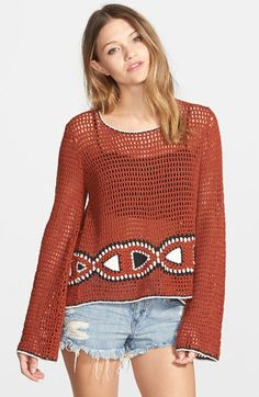"Volcom 'Vibe Tribe' Sweater available at #Nordstrom  21"" length. Sheer; base layer recommended. 55% ramie, 45% cotton. Machine wash cold, tumble dry low. By Volcom; imported."
