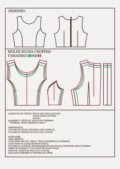 Blusa cropped by Daniele Queiroz via slideshare Source by natyricarte Cropped Pattern Cutting, Pattern Making, Sewing Clothes, Diy Clothes, Wedding Dress Patterns, Pattern Drafting, Pants Pattern, Sewing Techniques, Sewing Patterns Free