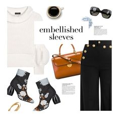 """Make a Statement: Embellished Sleeves"" by magdafunk ❤ liked on Polyvore featuring Burberry, RED Valentino, Maison Margiela, Bottega Veneta, McGinn, Sweater, FloralBoots and embellishedsleeves"