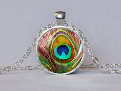 PEACOCK FEATHER PENDANT Peacock Necklace Teal by ThePendantGarden