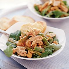 With fresh green beans, hearty garbanzos, and a smoky-creamy dressing, this Spanish tapas-style dish is unlike any other tuna salad you've tried. But it still takes less than 10 minutes to make and contains fewer than 400 calories per serving. High-quality tuna is a must