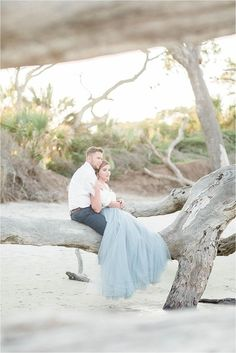 What happens when modern day Cinderella and Prince Charming head to the coast for the engagement? Pure Magic. This Driftwood Beach Jekyll Island Engagement