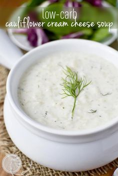 Low-Carb Cauliflower Cream Cheese Soup #glutenfree | iowagirleats.com