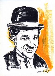 Charlie Chaplin Portrait , dessin à l'encre de chine , drawink ink  de van den Bosch josé Charlie Chaplin, Bosch, Vans, Portraits, Retro, Souvenirs, Ink Drawings, Van, Head Shots