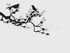 Silhouette of birds on Sakura blooming stock vector