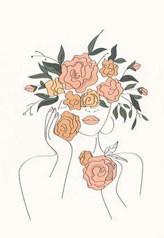 Outline Art, Abstract Line Art, Abstract Portrait, Art Drawings Sketches, Minimalist Art, Art Inspo, Art Projects, Canvas Art, Art Prints