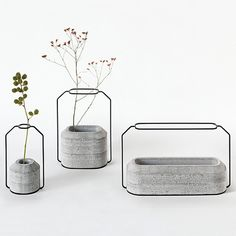 concrete and wire (2 dimensional wire to keep plants in line)
