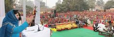 Chief Minister Mehbooba Mufti addressing a public gathering at Bishnah.