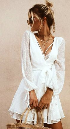 white lace deep V-neck mini dress., Summer Outfits, white lace deep V-neck mini dress. Casual Summer Outfits, White Outfits, Spring Outfits, White Summer Dresses, White Mini Dress, White Lace Dresses, Cream Dresses, White Dress Outfit, Pretty White Dresses