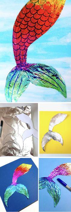 Tin Foil Mermaid Tail – Make Film Play #kidsart #kidscrafts