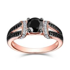 Round Cut Black & White Sapphire Rose Gold S925 Engagement Rings Affordable Rings, Everyday Rings, Black Sapphire, Matching Rings, Promise Rings, Cuff Bracelets, Fine Jewelry, Husband, Wedding Rings