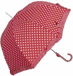 Amazon.de: Zauberhafter Nostalgie Regenschirm * Rot mit Weißen Punkten, Dots * von Clayre & Eef