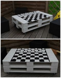 Pallet garden coffee table that I painted like a chessboard to play draughts. Table de salon de jardin faite avec des palettes recyclées et 4 roulettes, un