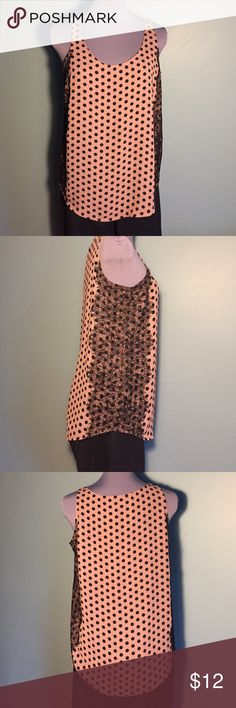 Ann Taylor Loft small top dusty rose & black lace Ann Taylor Loft size small dusty pink rose color dressy tank with small black polka dots and black lace down each side of top. Had a hemline that dips down in the front and back. LOFT Tops Tank Tops