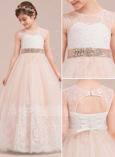 e0c071e4058b4 [£ Ball-Gown/Princess Floor-length Flower Girl Dress - Satin/Tulle/Lace  Sleeveless Scoop Neck With Rhinestone/Back Hole - JJ's House