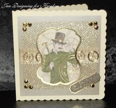 Loves to craft. Kanban Steampunk paper craft collection - foiled & die cut toppers with co-ordinating card.