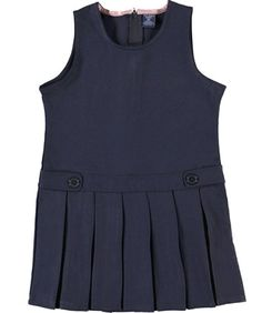 U.S. Polo Assn. Big Girls' Plus Low Pleated Jumper with Side Tabs - navy, 18.5