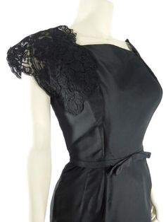 50s/60s Black Cocktail Dress Lace Sleeves