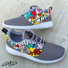 9094658f7c Bam Pow Comic Pop Art hand painted Nike Roshe by ArtOfTheSole Custom Vans