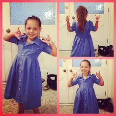 This use to be my Daddy's work shirt, and now it is my new dress thanks to my Mommy!