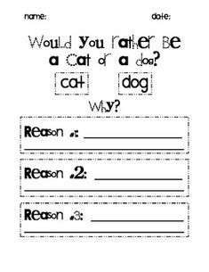 Good place to introduce opinion writing! Dog Opinion Writing--- use for Brainstorming page in Writer's Notebook Kindergarten Writing, Kids Writing, Writing Resources, Teaching Writing, Writing Activities, Writing Services, Creative Writing, Literacy, Teaching Ideas