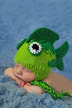 CCA46 Green Two Tone Fish Head Baby Hat