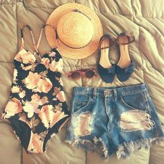 what I want to wear for a day at the lake. #style #summer #swim