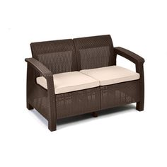 Keter Corfu Brown Resin All Weather Outdoor Cushioned Love Seat