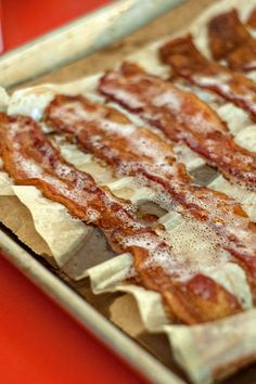 Oven bacon--I always cook bacon in the oven but I've never used parchment paper and a paper bag. Have to try this soon!